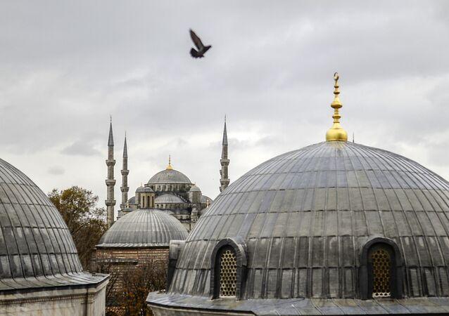 Vue sur la Mosquée bleue d'Istanbul