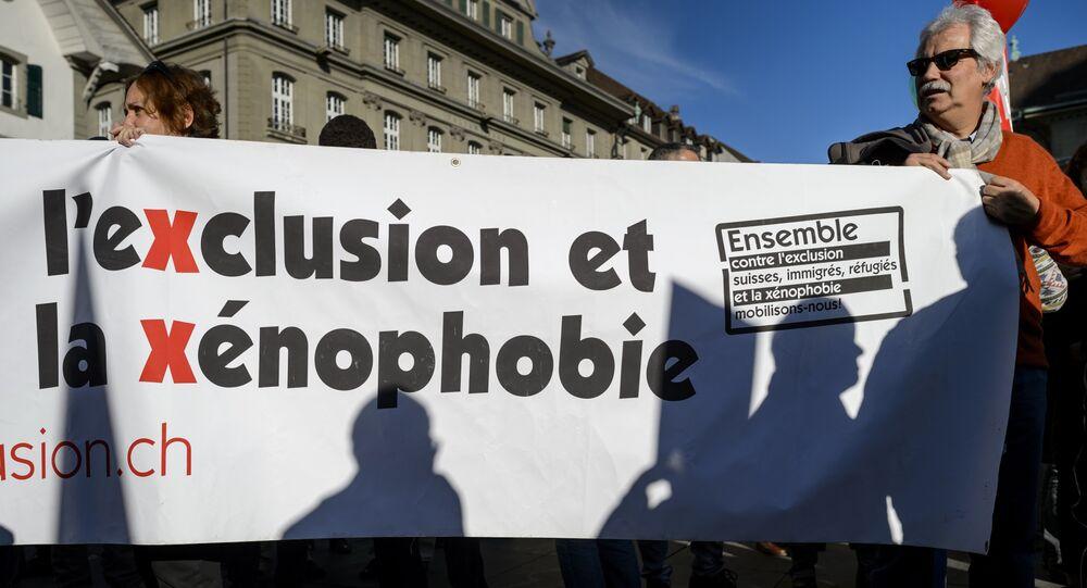 Manifestration à Berne contre une initiative d'expulser les étrangers. Archive photo