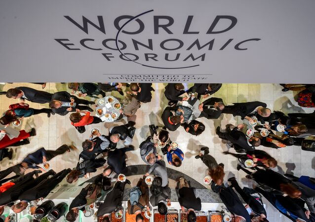 Un déjeuner lors du Forum économique mondial à Davos, janvier 2015
