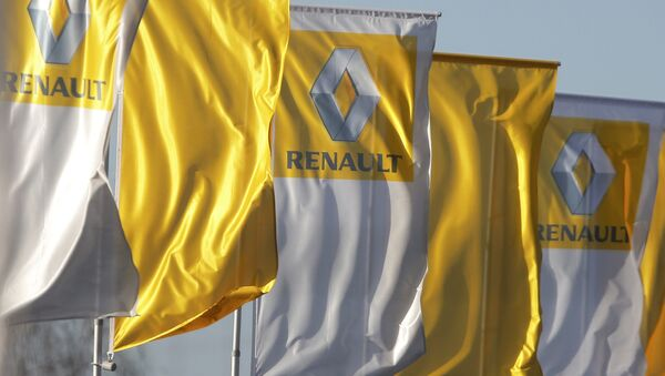 The logo of French car manufacturer Renault is seen on flags in front of a dealership in Strasbourg - Sputnik France