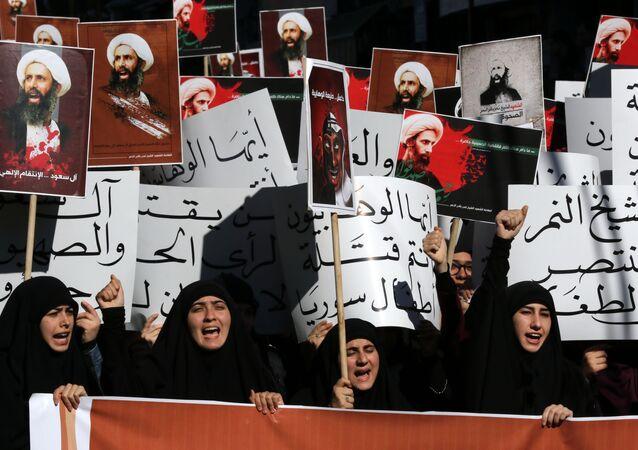 Femmes iraniennes protestant contre l'exécution de Nimr al-Nimr