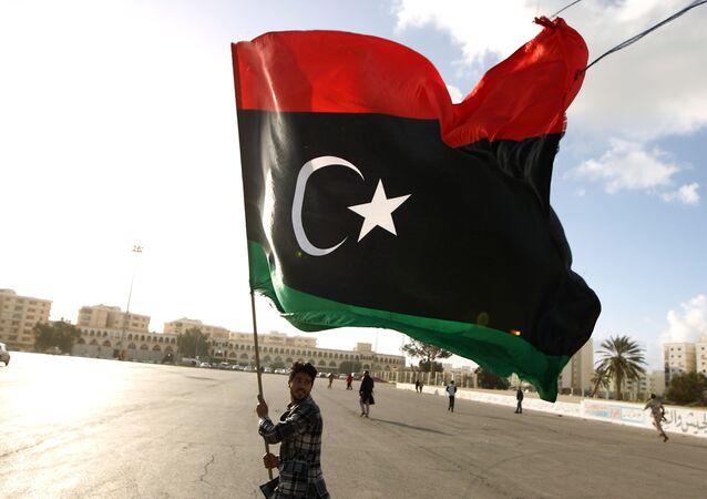 Le drapeau du Libye. Archive photo