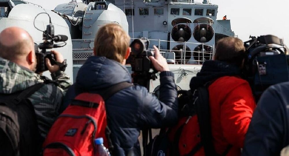 Russian Destroyer Vice-Admiral Kulakov Welcomes Foreign Journalists