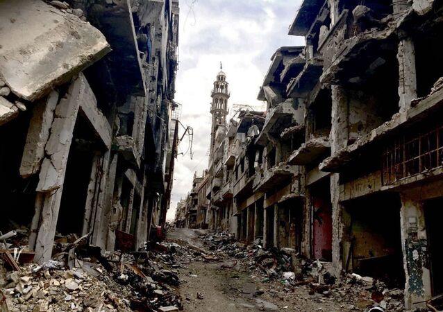 Des ruines dans la ville de Homs. Archive photo