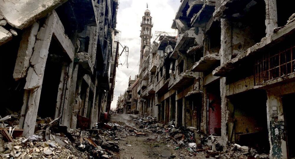 Des ruines dans la ville de Homs. Archive photo