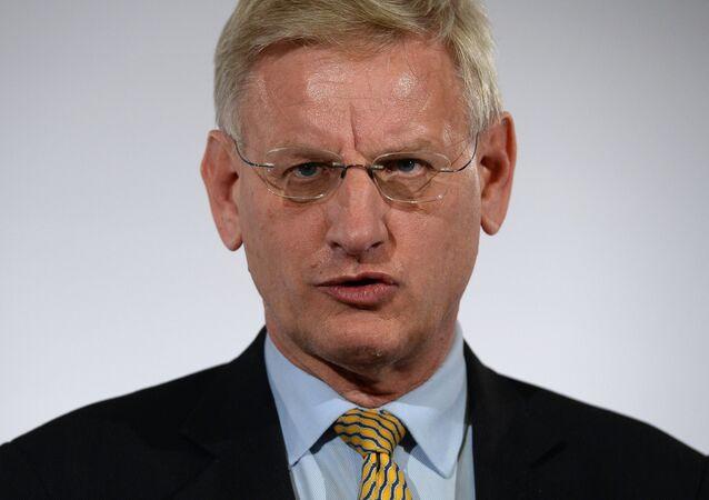 L'ancien ministre suédois des Affaires étrangères, Carl Bildt, à Kiev
