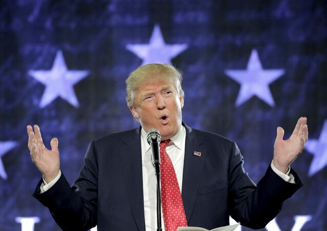U.S. Republican presidential candidate Donald Trump speaks at Liberty University in Lynchburg, Virginia, January 18, 2016.
