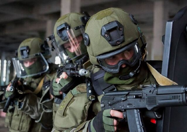 Exercises antiterroristes en Russie. Image d'Illustration