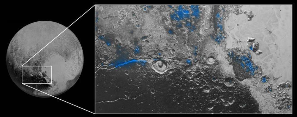 La glace d'eau sur Pluton