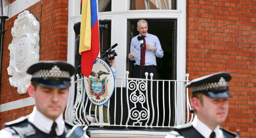 Le fondateur de WikiLeaks Julian Assange, réfugié à l'ambassade d'Equateur à Londres depuis 2012. Archive photo