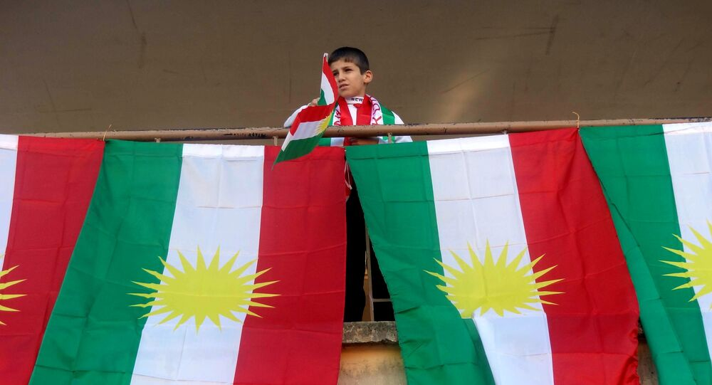 Drapeaux kurdes. Image d'illustration