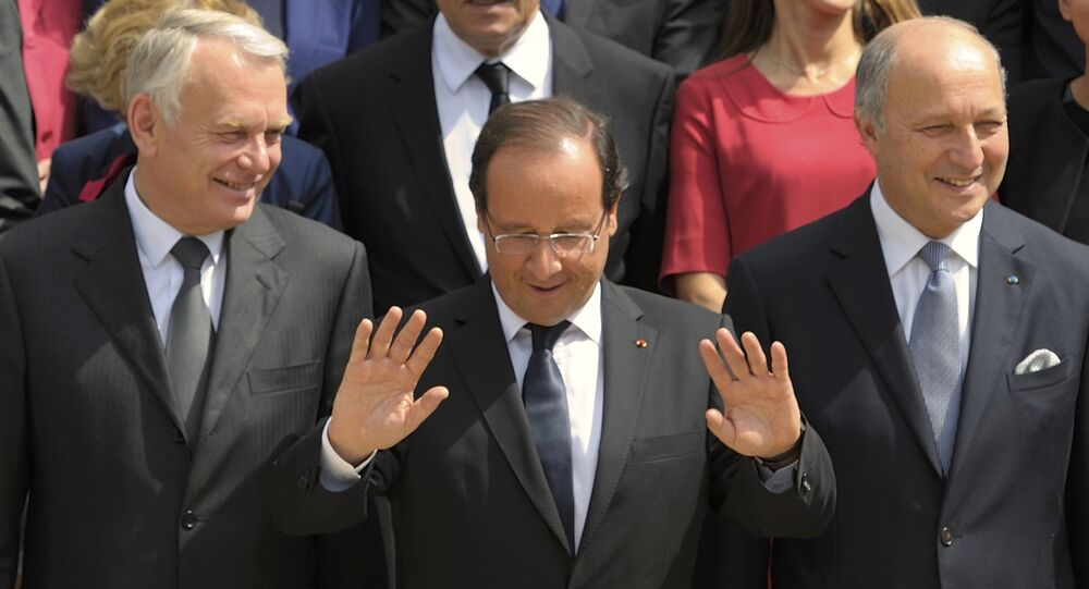 Jean-Marc Ayrault, Francois Hollande et Laurent Fabius. Archive photo