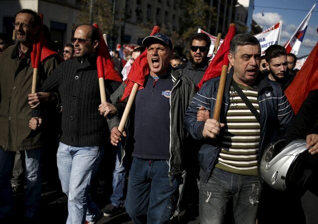 Rassemblement de protestation à Athènes