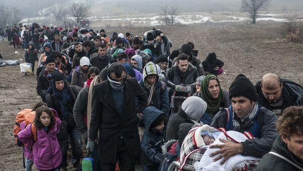 Des réfugiés massés devant un poste de passage à la frontière entre la Macédoine et la Serbie. 29 janvier 2016 - Sputnik France
