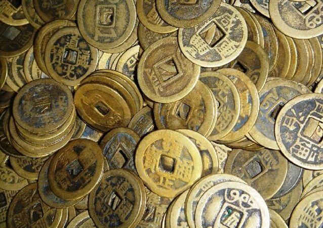 Des pièces chinois. Image d'illustration