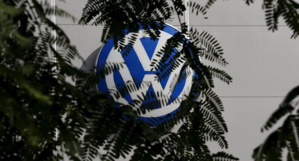 A logo of VW