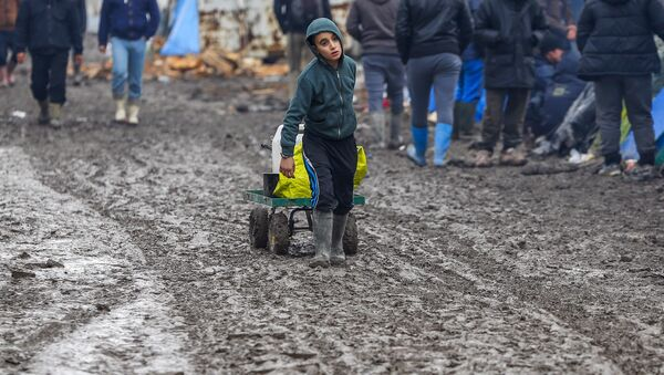 A young migrant pulls a trolley in a muddy field at a camp of makeshift shelters for migrants and asylum-seekers from Iraq, Kurdistan, Iran and Syria, called the Grande Synthe jungle, near Calais, France, February 3, 2016 - Sputnik France