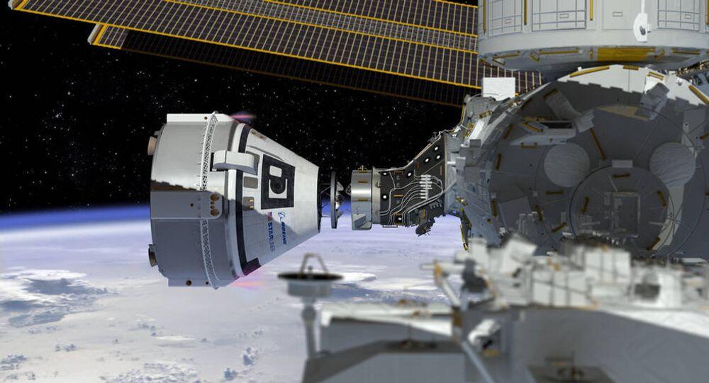 Dessin représentant l'arrimage du Boeing CST-100 Starliner à la Station spatiale internationale (ISS)