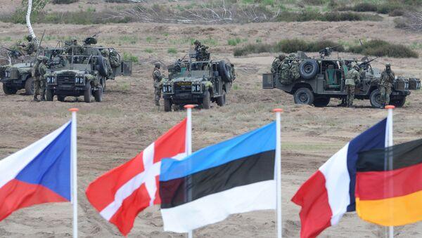 Les drapeaux vague en face de soldats qui prennent des positions avec leurs véhicules blindés pendant l'exercice militaire de l'Otan près Swietoszow Zagan, Pologne - Sputnik France