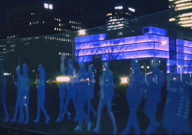 Une manifestation d'hologrammes à Séoul