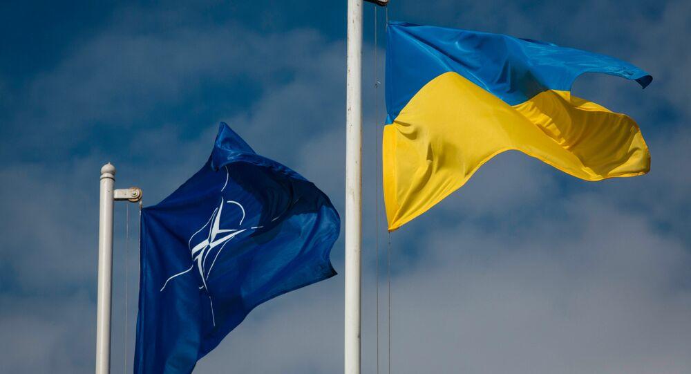 Drapeau national ukrainien et le drapeau d `OTAN