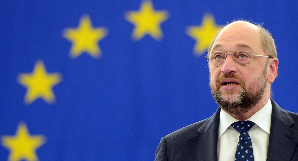 European Parliament president Martin Schulz delivers a speech during a plenary session at the European Parliament, on November 20, 2012 in Strasbourg