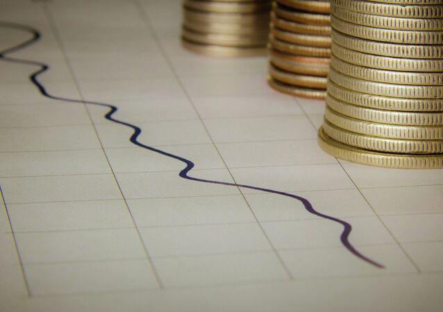 Graphique avec des pièces de monnaie. Image d'illustration