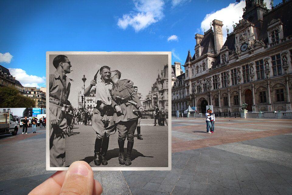 Paris. Fenêtres sur l'Histoire. Place de l'Hôtel-de-Ville. Août 1944.