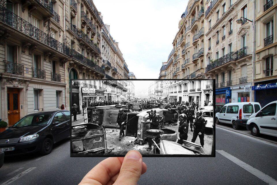 Paris. Fenêtres sur l'Histoire. Rue Gay-Lussac. Mai 1968.