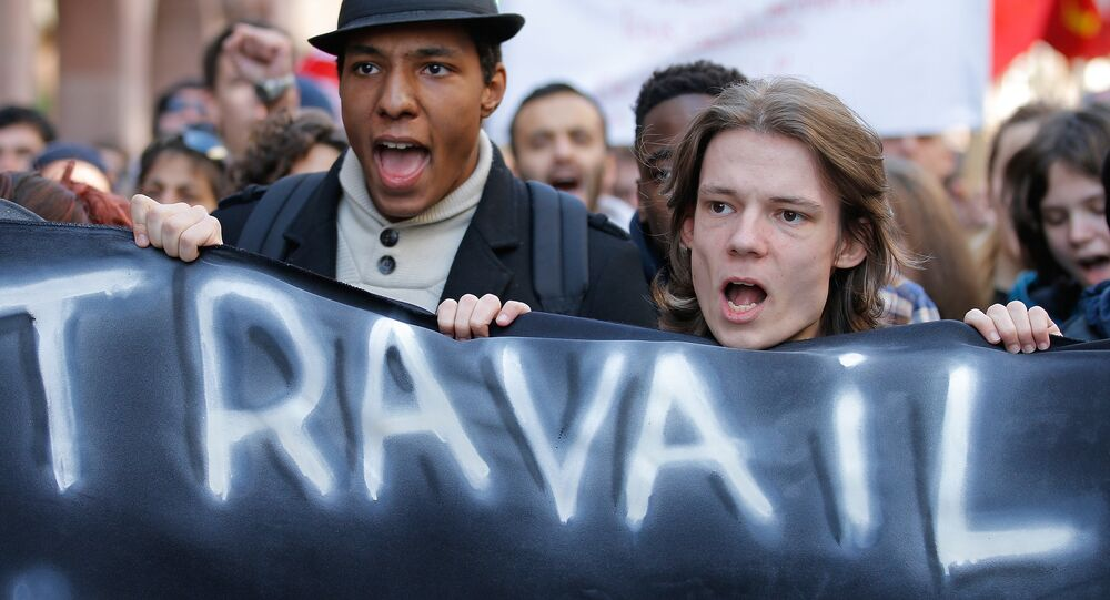 French high school and university students attend a demonstration against the French labour law proposal in Strasbourg, France, as part of a nationwide labor reform prostest, March 17, 2016.