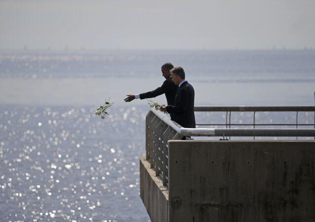 Barack Obama et Mauricio Macri. Mémorial des victimes de la junte de Buenos Aires