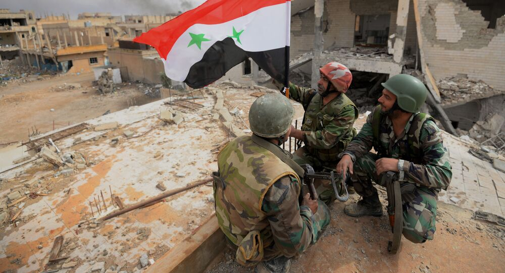 Des soldats de l'armée syrienne à Palmyre. Image d'illustration