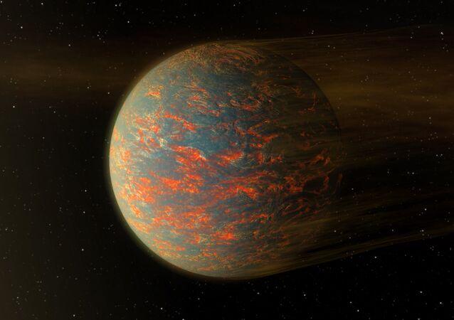 Vue hypothétique de la face diurne de 55 Cancri e