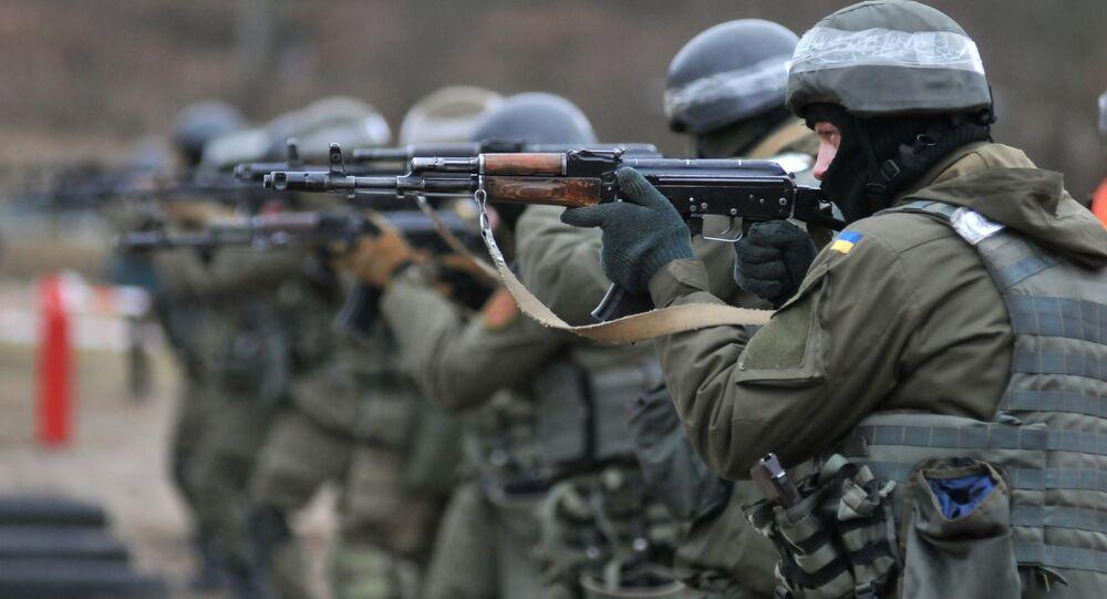 Les soldats de la Garde nationale de l'Ukraine lors des exercices de l'OTAN