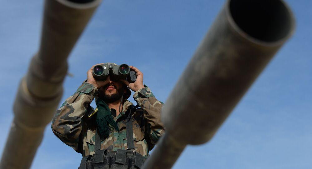 Des militaires syriens lors de l'offensive sur Al-Qaryatayn