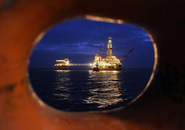Plateforme pétrolière. Image d'illustration