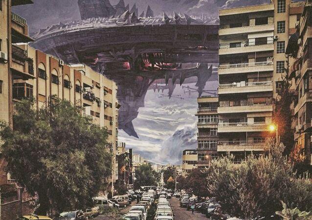 Un peu de fantaisie : des vaisseaux extraterrestres attaquent Damas