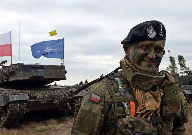Le commandant de char polonais sourit après un exercice de l'OTAN Response Force  (NRF) à Zagan, sud-ouest de la Pologne le 18 Juin 2015
