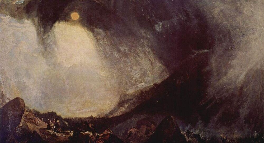 William Turner. Tempête de neige: Hannibal et son armée traversant les Alpes (1812)
