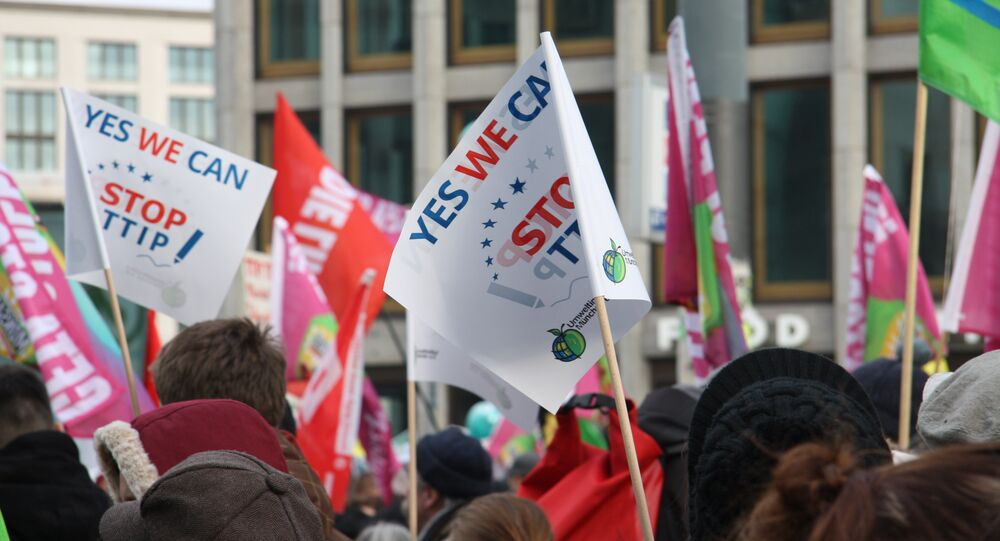 Manifestation contre l'accord TTIP à Berlin