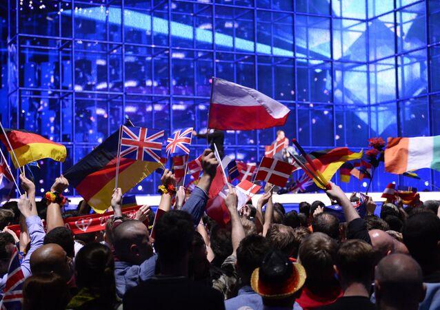 Drapeaux à un concours de l'Eurovision