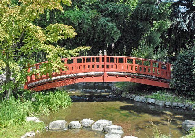 Un jardin japonais, image d'illustration