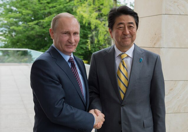 Vladimir Poutine (à gauche) et Shinzo Abe
