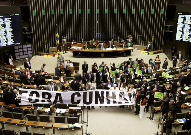 Congressmen demonstrate against President of the Chamber of Deputies Cunha during a session to review the request for Brazilian President Dilma Rousseff's impeachment, at the Chamber of Deputies in Brasilia, Brazil April 16, 2016