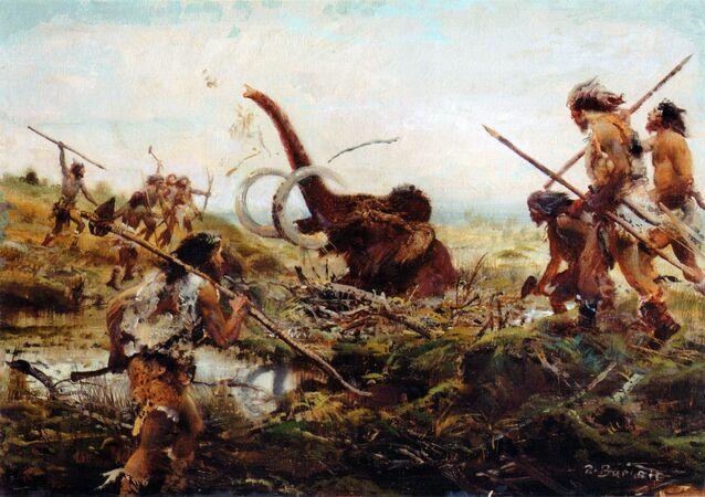 Zdenek Burian. Chasse au mammouth dans le marais