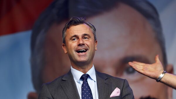 Austrian far right Freedom Party (FPOe) presidential candidate Norbert Hofer arrives for his final election rally in Vienna, Austria, May 20, 2016. - Sputnik France