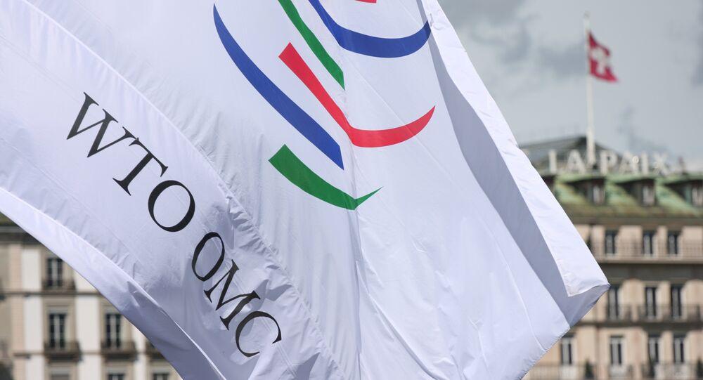 Drapeau de l'Organisation mondiale du commerce (OMC) à Genève