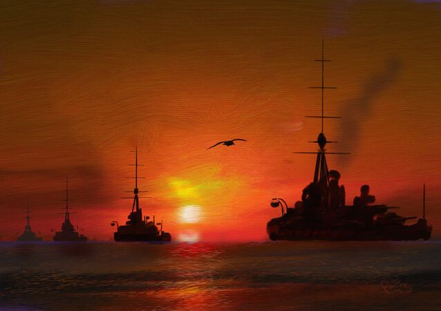 Peinture: la deuxième escadre de bataille de la Grande Flotte de la Royal Navy pendant la Première Guerre mondiale