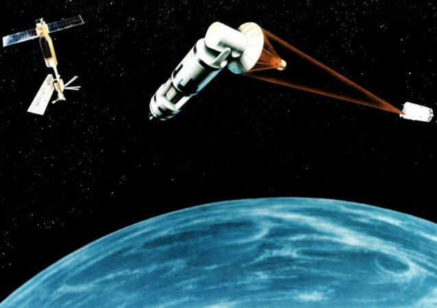 Un système spatial de défense antisatellite (vue d'artiste)