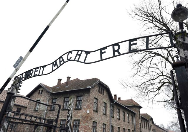 File photo of the sign Arbeit macht frei (Work makes you free) at the main gate of the former German Nazi concentration and extermination camp Auschwitz in Oswiecim January 19, 2015